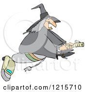 Clipart Of A Chubby Halloween Witch Flying On A Vacuum Royalty Free Vector Illustration by djart