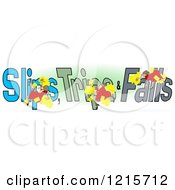 Clipart Of A Slipping Tripping And Falling Woman Over Slips Trips And Falls Text Over Green And White Royalty Free Illustration by djart