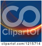 Clipart Of A Glowing Red And Orange Fractal Swoosh Over Blue Royalty Free Illustration