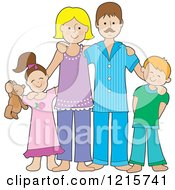 Clipart Of A Happy Caucasian Family Of Four Posing In The Pajamas Royalty Free Vector Illustration