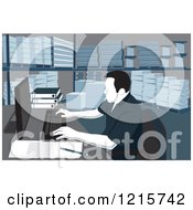 Clipart Of A Woodcut Man Working On A Computer In A Warehouse With Shelves Of Paper Products Royalty Free Vector Illustration by David Rey