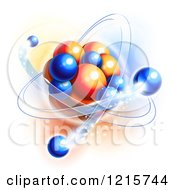 Clipart Of Blue And Orange Molecule Atom And Particles Depicting Motion Royalty Free Vector Illustration