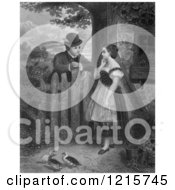 Retro Clipart Of A Vintage Young Couple Talking At A Fence With Ducks In The Yard In Black And White Royalty Free Illustration by Picsburg