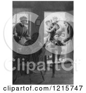 Retro Clipart Of Vintage Parents And Grandparents With Children At A Door In Black And White Royalty Free Illustration