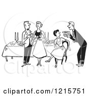 Cartoon Of A Gentleman Serving A Lady At A Party Table While A Couple Talks In Black And White Royalty Free Vector Clipart