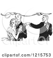 Retro Clipart Of A Teen Boy Pointing By A Dancing Couple At High School Prom In Black And White Royalty Free Vector Illustration