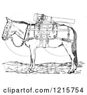 Retro Gun Mule With Weapons In Black And White