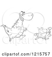 Outlined Dinosaur Chasing A Caveman With A Bone