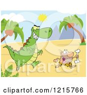 Dinosaur Chasing A Caveman With A Bone In A Landscape