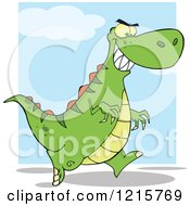 Clipart Of A Running Green Dinosaur Over Blue And White Royalty Free Vector Illustration by Hit Toon