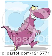 Running Purple Dinosaur Over Blue And White