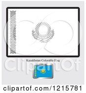 Coloring Page And Sample For A Kazakhstan Flag
