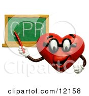 Clay Sculpture Clipart Heart Teacher Discussing CPR Royalty Free 3d Illustration