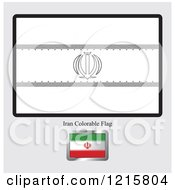 Clipart Of A Coloring Page And Sample For An Iran Flag Royalty Free Vector Illustration