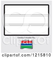 Clipart Of A Coloring Page And Sample For Gambia Flag Royalty Free Vector Illustration