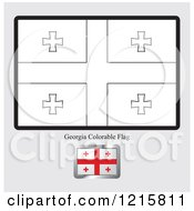 Clipart Of A Coloring Page And Sample For A Georgia Flag Royalty Free Vector Illustration