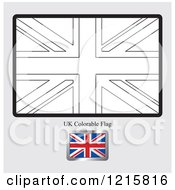 Clipart Of A Coloring Page And Sample For A UK Flag Royalty Free Vector Illustration