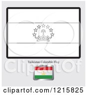 Clipart Of A Coloring Page And Sample For A Tajikistan Flag Royalty Free Vector Illustration