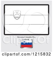 Clipart Of A Coloring Page And Sample For A Slovenia Flag Royalty Free Vector Illustration