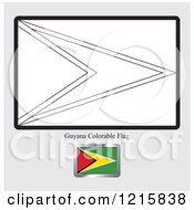 Coloring Page And Sample For A Guyana Flag