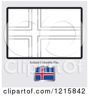 Clipart Of A Coloring Page And Sample For An Iceland Flag Royalty Free Vector Illustration
