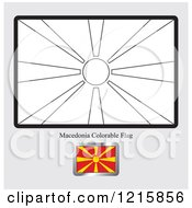 Clipart Of A Coloring Page And Sample For A Macedonia Flag Royalty Free Vector Illustration