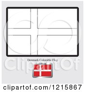 Clipart Of A Coloring Page And Sample For A Denmark Flag Royalty Free Vector Illustration