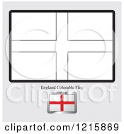 Clipart Of A Coloring Page And Sample For An England Flag Royalty Free Vector Illustration