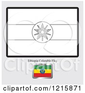 Clipart Of A Coloring Page And Sample For A Ethiopia Flag Royalty Free Vector Illustration