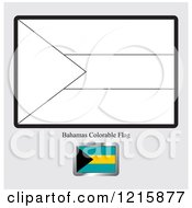 Clipart Of A Coloring Page And Sample For A Bahamas Flag Royalty Free Vector Illustration