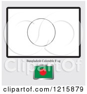 Clipart Of A Coloring Page And Sample For A Bangladesh Flag Royalty Free Vector Illustration