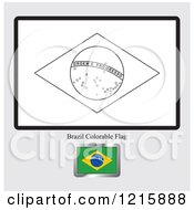 Clipart Of A Coloring Page And Sample For A Brazil Flag Royalty Free Vector Illustration