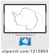Clipart Of A Coloring Page And Sample For An Antarctica Flag Royalty Free Vector Illustration