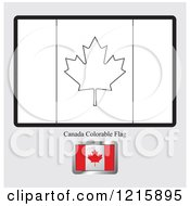 Clipart Of A Coloring Page And Sample For A Canada Flag Royalty Free Vector Illustration