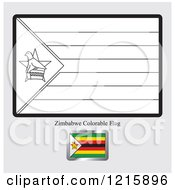 Clipart Of A Coloring Page And Sample For A Zimbabwe Flag Royalty Free Vector Illustration
