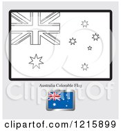 Clipart Of A Coloring Page And Sample For An Australia Flag Royalty Free Vector Illustration by Lal Perera