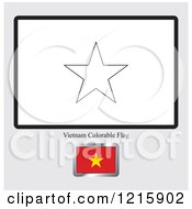 Clipart Of A Coloring Page And Sample For A Vietnam Flag Royalty Free Vector Illustration