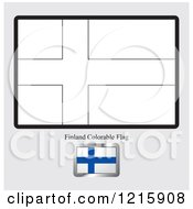 Clipart Of A Coloring Page And Sample For A Finland Flag Royalty Free Vector Illustration