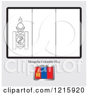 Clipart Of A Coloring Page And Sample For A Mongolia Flag Royalty Free Vector Illustration