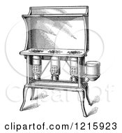Vintage Clipart Of A Retro Antique Kerosene Stove In Black And White Royalty Free Vector Illustration by Picsburg