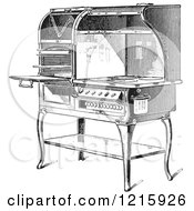 Vintage Clipart Of A Retro Antique Electric Stove In Black And White Royalty Free Vector Illustration by Picsburg