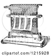 Vintage Clipart Of A Retro Antique Electric Toaster In Black And White Royalty Free Vector Illustration