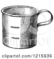 Vintage Clipart Of A Retro Metal Measuring Cup In Black And White Royalty Free Vector Illustration