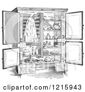 Vintage Clipart Of A Retro Antique Refrigerator With An Ice Compartment And Air Flow Shown In Black And White Royalty Free Vector Illustration by Picsburg