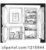 Vintage Clipart Of A Retro Antique Refrigerator With Food In Black And White Royalty Free Vector Illustration by Picsburg