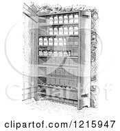 Vintage Clipart Of Retro Cupboard Shelves With Canned Goods In Black And White Royalty Free Vector Illustration by Picsburg