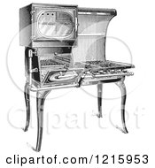 Vintage Clipart Of A Retro Antique Gas Stove In Black And White Royalty Free Vector Illustration