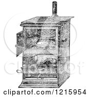 Vintage Clipart Of A Retro Antique Gas Cooking Stove With Food Baking In The Oven In Black And White Royalty Free Vector
