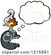 Cartoon Of A Bomb Thinking Royalty Free Vector Illustration