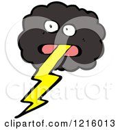 Cartoon Of A Stormy Cloud With Lightning Royalty Free Vector Illustration by lineartestpilot